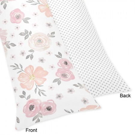 Watercolor Floral Pink and Gray Body Pillow Cover