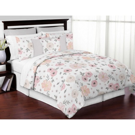Watercolor Floral Pink and Gray Comforter Set - 3 Piece Full/Queen Size By Sweet Jojo Designs