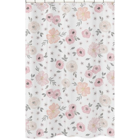 Watercolor Floral Pink and Gray Shower Curtain