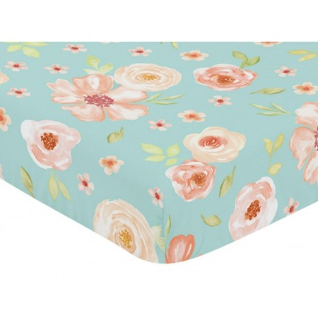 Watercolor Floral Turquoise and Peach Crib Sheet