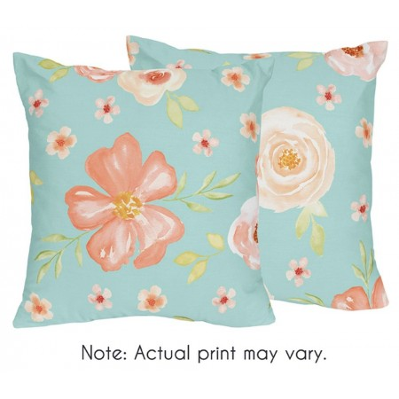 Watercolor Floral Turquoise and Peach Accent Pillow