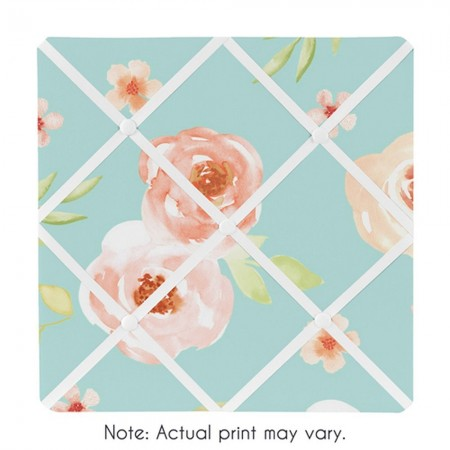 Watercolor Floral Turquoise and Peach Fabric Memo Board