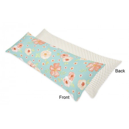 Watercolor Floral Turquoise and Peach Body Pillow Cover