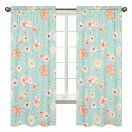 Watercolor Floral Turquoise and Peach Window Panels