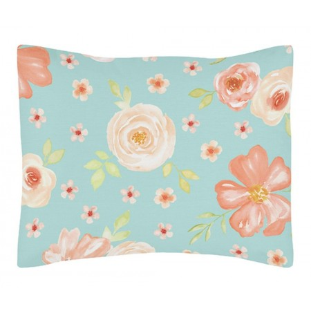 Watercolor Floral Turquoise and Peach Pillow Sham