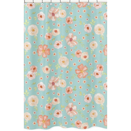 Watercolor Floral Turquoise and Peach Shower Curtain