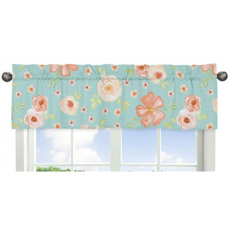 Watercolor Floral Turquoise and Peach Valance
