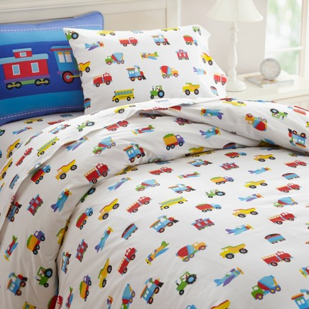 Trains, Planes, Trucks Twin Size Duvet Cover by Olive Kids
