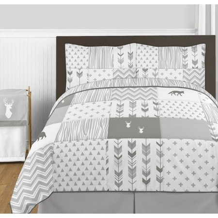 Woodsy Grey & White Comforter Set - 3 Piece Full/Queen Size By Sweet Jojo Designs