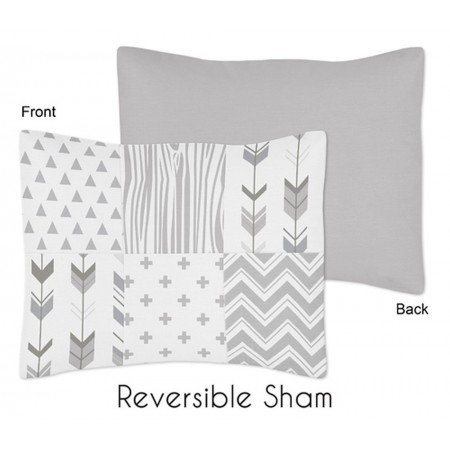 Woodsy Grey & White Pillow Sham