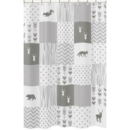 Woodsy Grey & White Shower Curtain