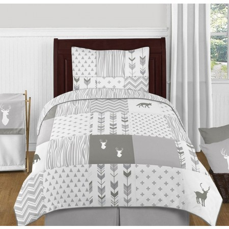 Woodsy Grey & White Bedding Set - 4 Piece Twin Size By Sweet Jojo Designs