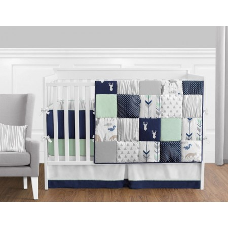 Woodsy Navy, Mint & Grey Crib Set by Sweet Jojo Designs