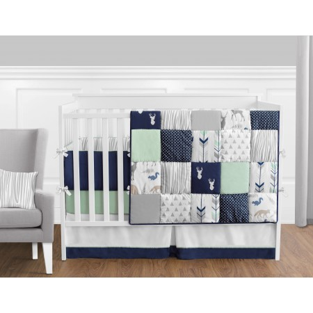 Woodsy Navy, Mint & Grey 11 Piece Bumperless Crib Set by Sweet Jojo Design
