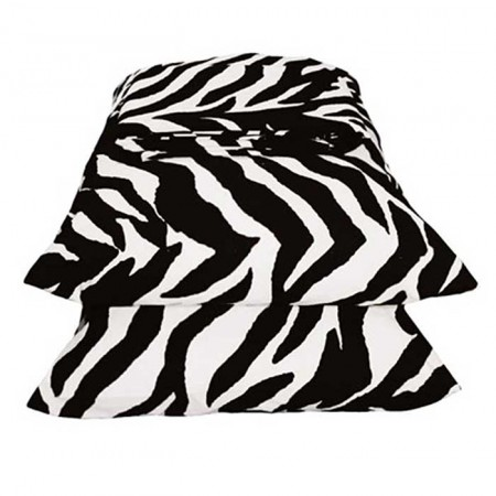Black & White Zebra Print Super Single Waterbed Sheet Set