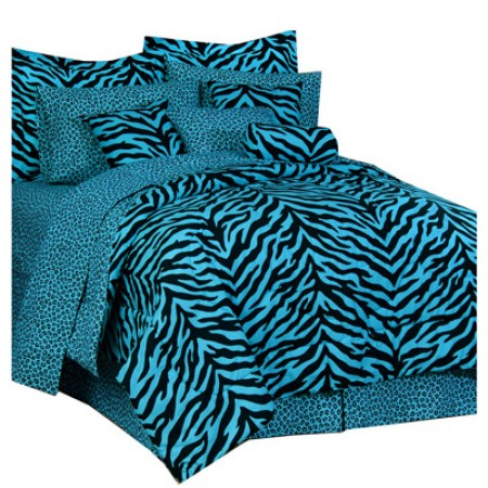 Blue Zebra Print Comforter and Pillow Sham - Twin Size