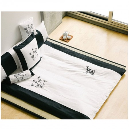 Zen Garden White Duvet and Sham Set - Queen Size