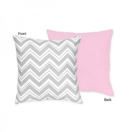 Zig Zag Pink & Gray Chevron Print Accent Pillow