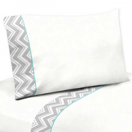 Gray & Turquoise Zig Zag Print Sheet Set