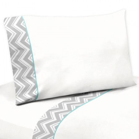 Zig Zag Turquoise & Gray Chevron Print Queen Size Sheet Set