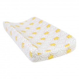 Art Deco Lions Scallop Plush Changing Pad Cover
