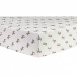 Gray Moose Silhouettes Deluxe Flannel Fitted Crib Sheet
