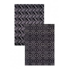 "Cubic Wave Black Area Rug (60"" X 83"")"