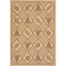 Woven Pine Brown Area Rug - Cabin & Lodge Style