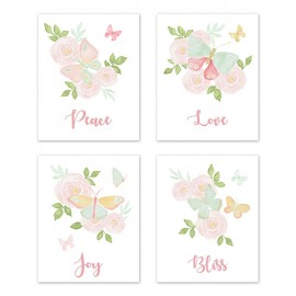 Butterfly Floral Wall Art Prints - Set of 4