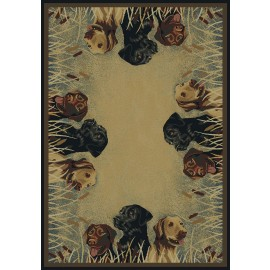 Labs In Marsh Area Rug - Cabin Style Area Rug