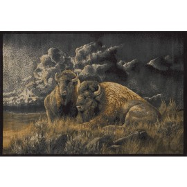 Distant Thunder Bison Area Rug - Lodge Themed