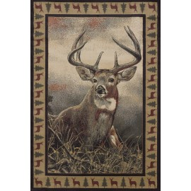 Majestic White Tail Area Rug - Lodge Themed