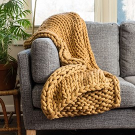 Chunky Knit Throw - Camel