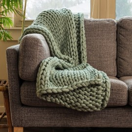 Chunky Knit Throw - Sage Green