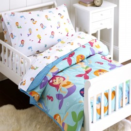 Olive Kids Mermaids 4 piece Toddler Size Bed in a Bag Set