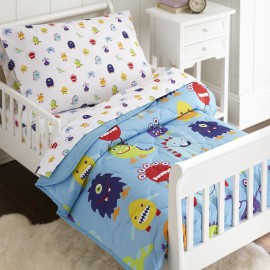 Olive Kids Monsters 4 piece Toddler Size Bed in a Bag Set