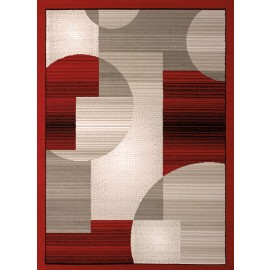 Zoom Zoom Red Area Rug - Geometric Sytle