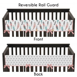 Feather Turquoise & Coral Collection Long Rail Guard Cover