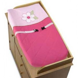 Flower Pink And Green Changing Pad Cover