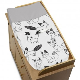 Fox Black & White Changing Pad Cover