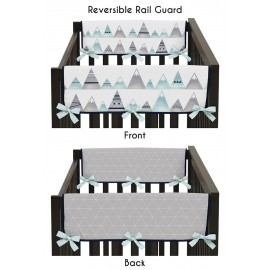 Mountains Grey & Aqua Collection Side Rail Guard Covers - Set of 2
