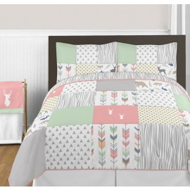 Woodsy Coral, Mint & Grey Comforter Set - 3 Piece Full/Queen Size By Sweet Jojo Designs