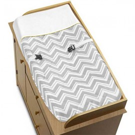 Zig Zag Yellow & Gray Chevron Print Changing Pad Cover