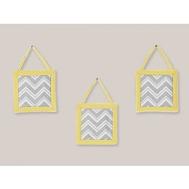 Zig Zag Yellow & Gray Chevron Print Wall Hanging