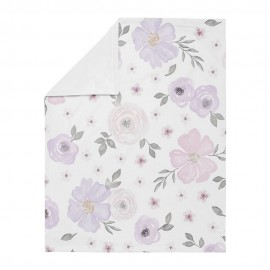 Watercolor Floral Lavender and Grey Baby Blanket