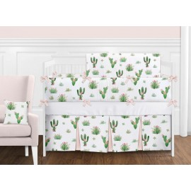 Cactus Floral Crib Bedding Set by Sweet Jojo Designs - 9 piece