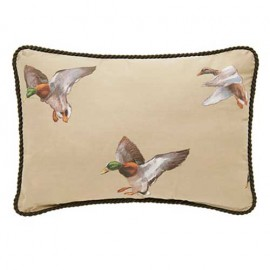 Duck Approach Oblong Pillow - Corded/Tan with Ducks