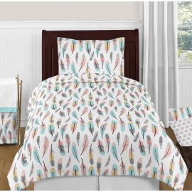 Feather Turquoise & Coral Bedding Set - 4 Piece Twin Size By Sweet Jojo Designs