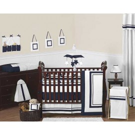Hotel White & Navy Blue Baby Bedding Set by Sweet Jojo Designs - 9 piece