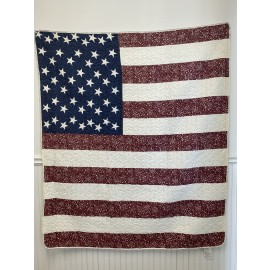 Star Spangled American Flag Throw Size Quilt